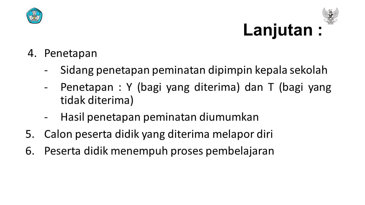 Lanjutan : 4.Penetapan - Sidang penetapan peminatan dipimpin kepala sekolah - Penetapan : Y (bagi yang diterima) dan T (bagi yang tidak diterima) - Ha
