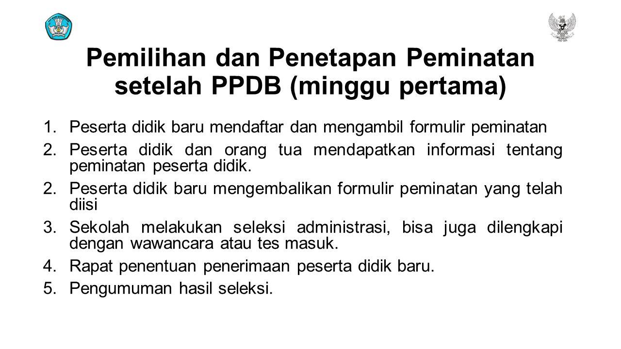 Pemilihan dan Penetapan Peminatan setelah PPDB (minggu pertama) 1.Peserta didik baru mendaftar dan mengambil formulir peminatan 2.Peserta didik dan or