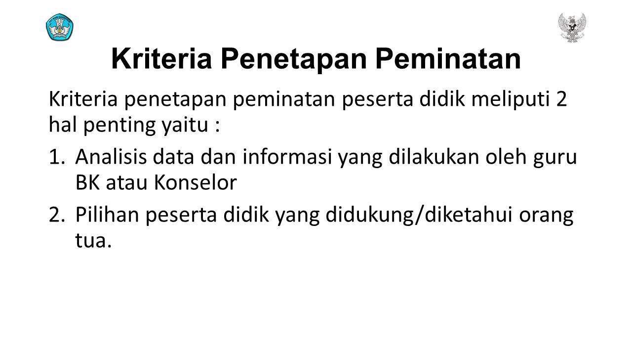 Kriteria Penetapan Peminatan Kriteria penetapan peminatan peserta didik meliputi 2 hal penting yaitu : 1.Analisis data dan informasi yang dilakukan ol