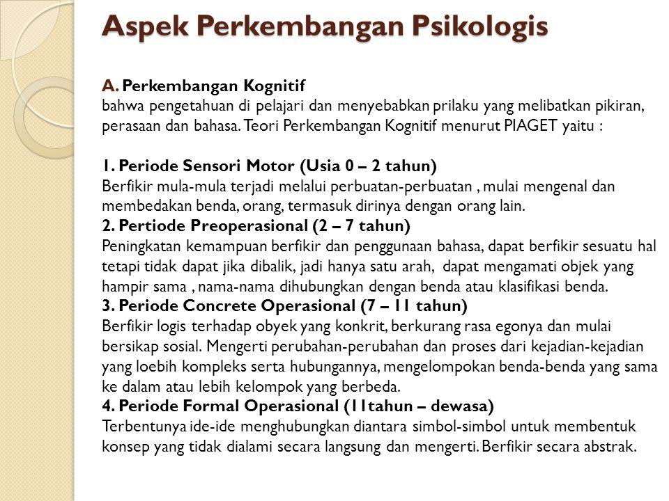 Aspek Perkembangan Psikologis A. Aspek Perkembangan Psikologis A. Perkembangan Kognitif bahwa pengetahuan di pelajari dan menyebabkan prilaku yang mel