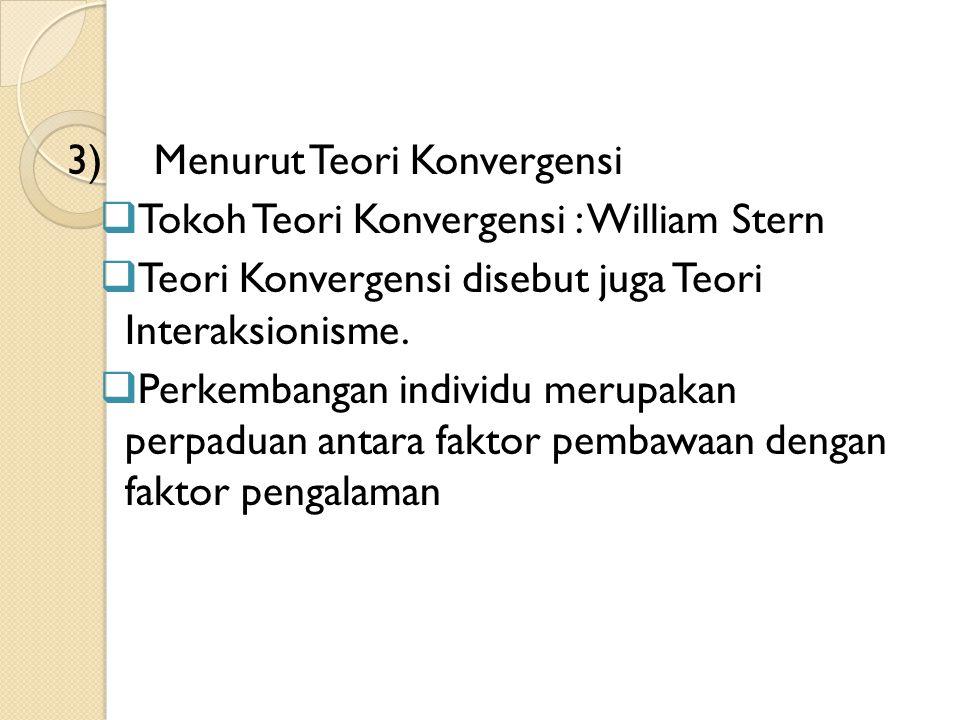 3)Menurut Teori Konvergensi  Tokoh Teori Konvergensi : William Stern  Teori Konvergensi disebut juga Teori Interaksionisme.  Perkembangan individu