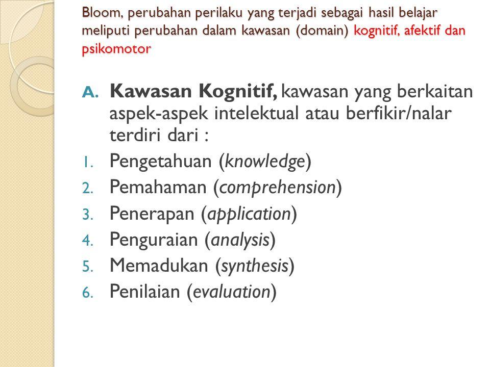 Bloom, perubahan perilaku yang terjadi sebagai hasil belajar meliputi perubahan dalam kawasan (domain) kognitif, afektif dan psikomotor A. Kawasan Kog