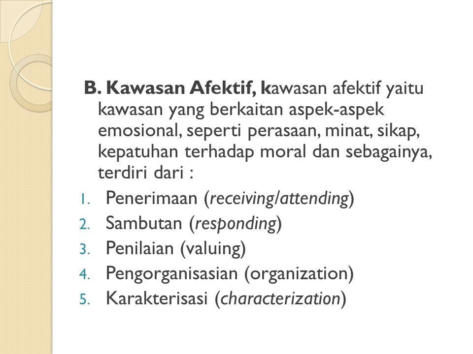 B. Kawasan Afektif, kawasan afektif yaitu kawasan yang berkaitan aspek-aspek emosional, seperti perasaan, minat, sikap, kepatuhan terhadap moral dan s