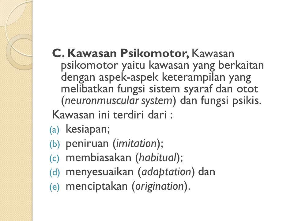 C. Kawasan Psikomotor, Kawasan psikomotor yaitu kawasan yang berkaitan dengan aspek-aspek keterampilan yang melibatkan fungsi sistem syaraf dan otot (