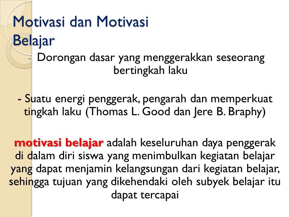 Motivasi dan Motivasi Belajar - Dorongan dasar yang menggerakkan seseorang bertingkah laku - Suatu energi penggerak, pengarah dan memperkuat tingkah l