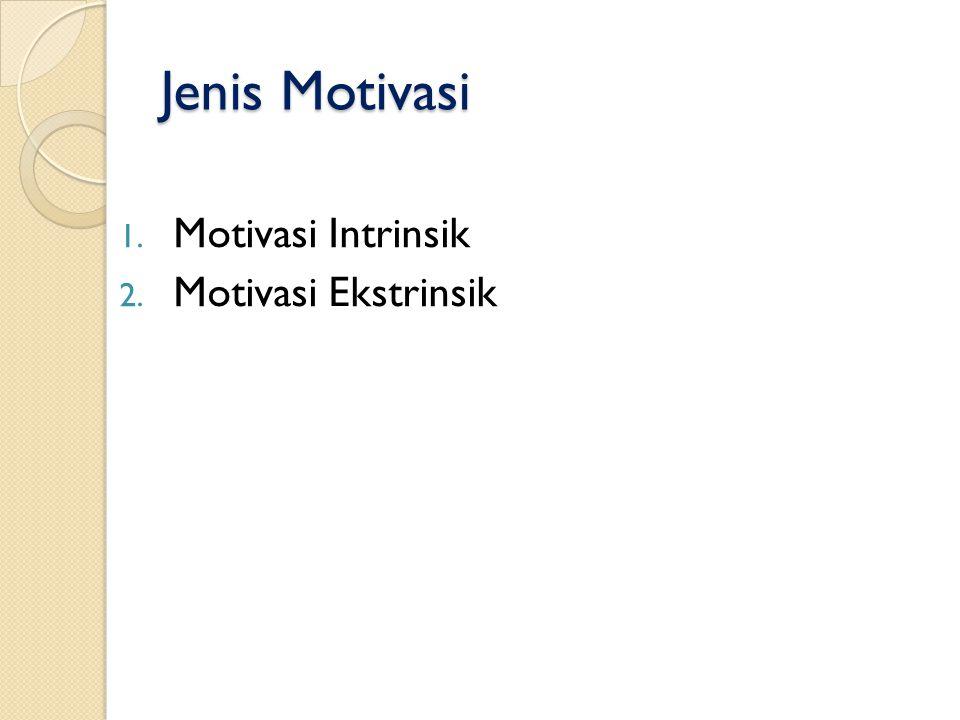 Jenis Motivasi 1. Motivasi Intrinsik 2. Motivasi Ekstrinsik