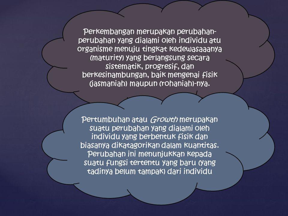 PERSAMAAN DAN PERBEDAAN PERTUMBUHAN DAN PERKEMBANGAN  Persamaan pertumbuhan dan perkembangan : keduanya merupakan proses perubahan progresif.