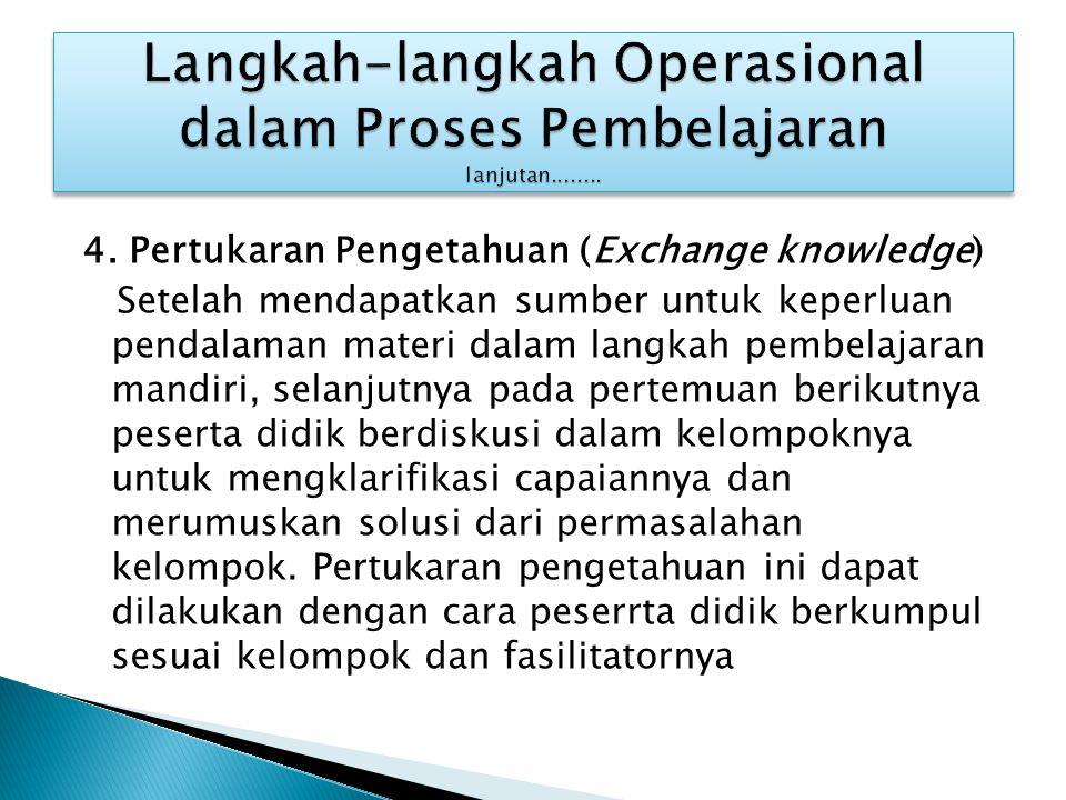 4. Pertukaran Pengetahuan (Exchange knowledge) Setelah mendapatkan sumber untuk keperluan pendalaman materi dalam langkah pembelajaran mandiri, selanj