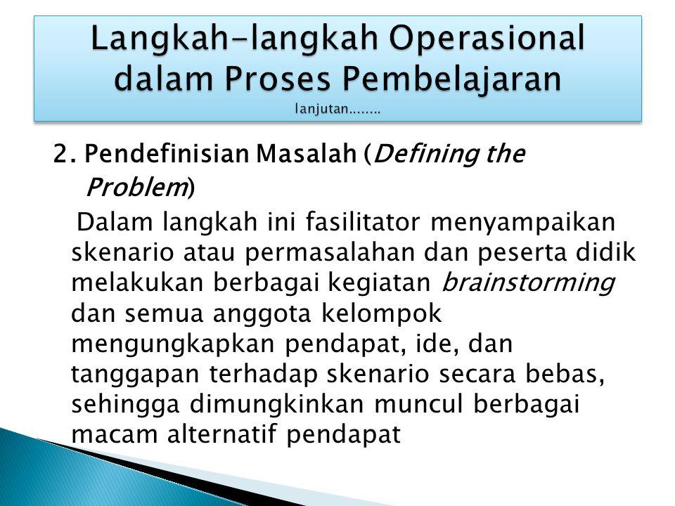2. Pendefinisian Masalah (Defining the Problem) Dalam langkah ini fasilitator menyampaikan skenario atau permasalahan dan peserta didik melakukan berb