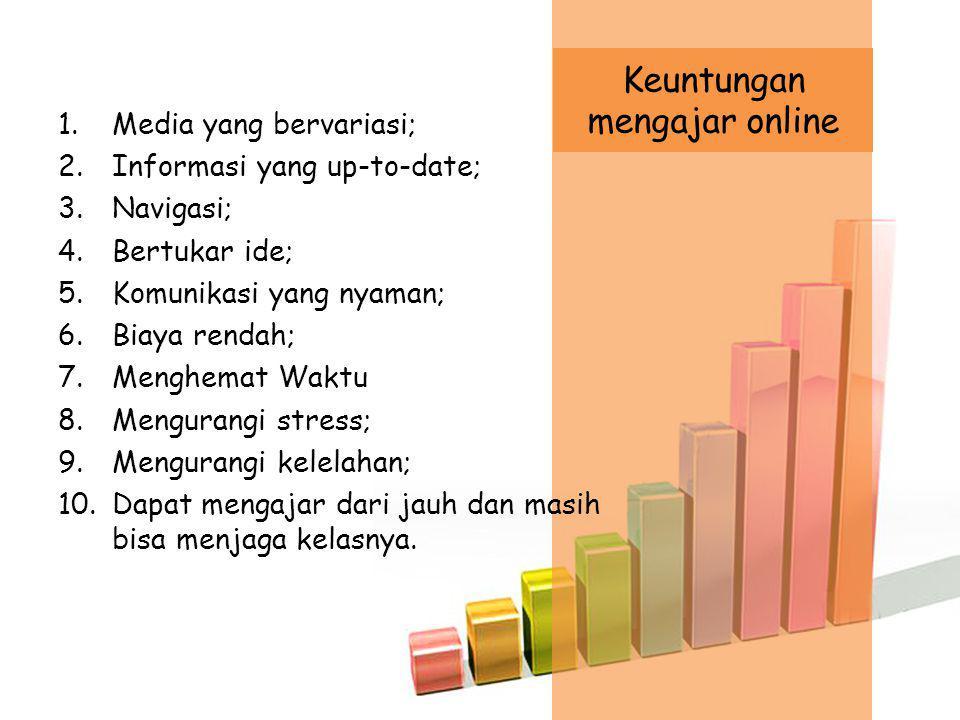 1.Media yang bervariasi; 2.Informasi yang up-to-date; 3.Navigasi; 4.Bertukar ide; 5.Komunikasi yang nyaman; 6.Biaya rendah; 7.Menghemat Waktu 8.Mengurangi stress; 9.Mengurangi kelelahan; 10.Dapat mengajar dari jauh dan masih bisa menjaga kelasnya.