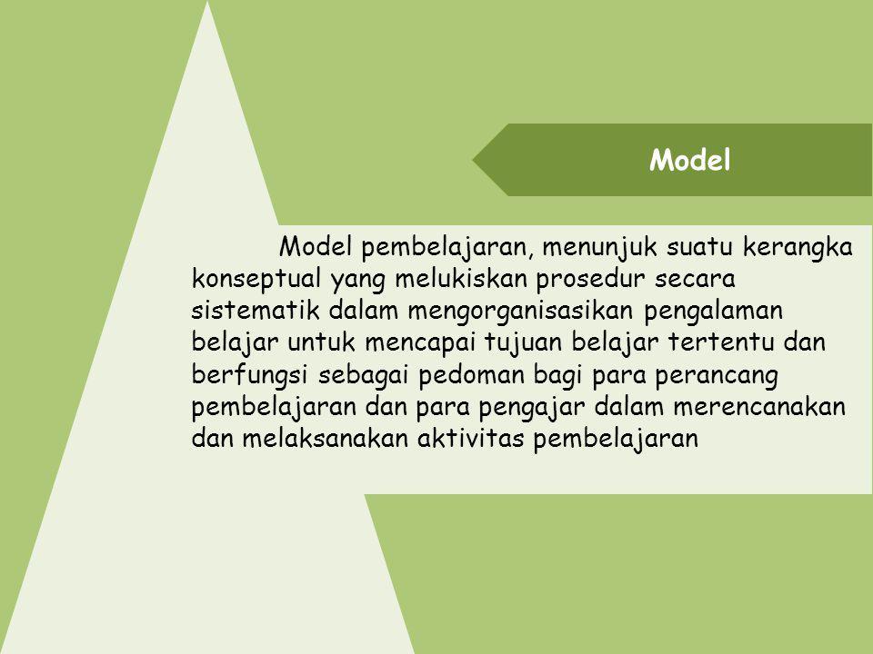 Model Model pembelajaran, menunjuk suatu kerangka konseptual yang melukiskan prosedur secara sistematik dalam mengorganisasikan pengalaman belajar unt