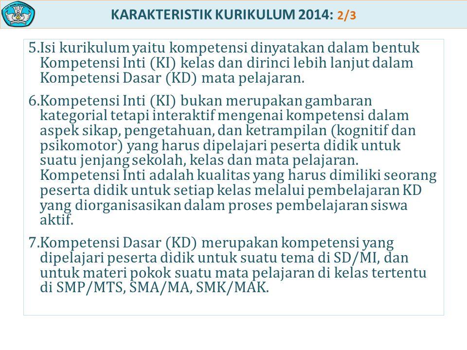 KARAKTERISTIK KURIKULUM 2014: 2/3 5.Isi kurikulum yaitu kompetensi dinyatakan dalam bentuk Kompetensi Inti (KI) kelas dan dirinci lebih lanjut dalam K