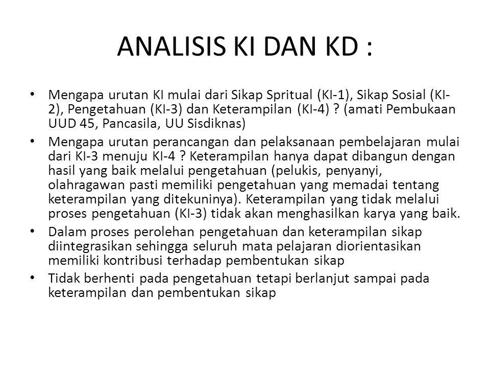 ANALISIS KI DAN KD : Mengapa urutan KI mulai dari Sikap Spritual (KI-1), Sikap Sosial (KI- 2), Pengetahuan (KI-3) dan Keterampilan (KI-4) ? (amati Pem