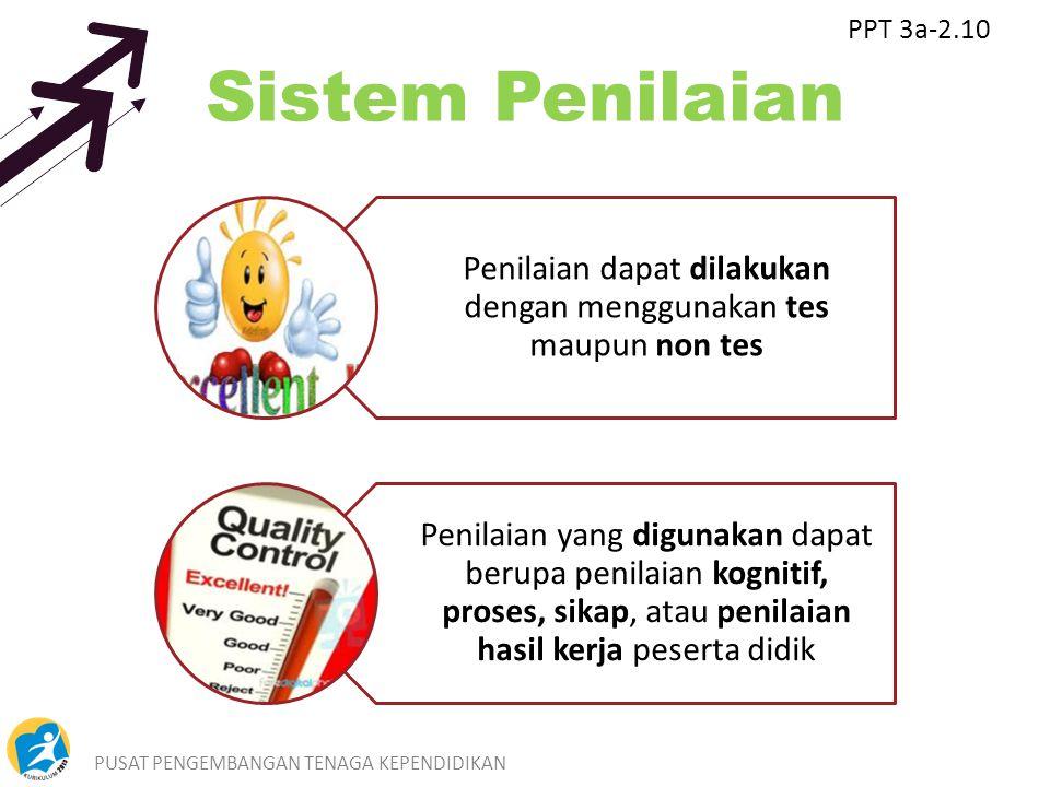 PUSAT PENGEMBANGAN TENAGA KEPENDIDIKAN11 Sistem Penilaian Penilaian dapat dilakukan dengan menggunakan tes maupun non tes Penilaian yang digunakan dap