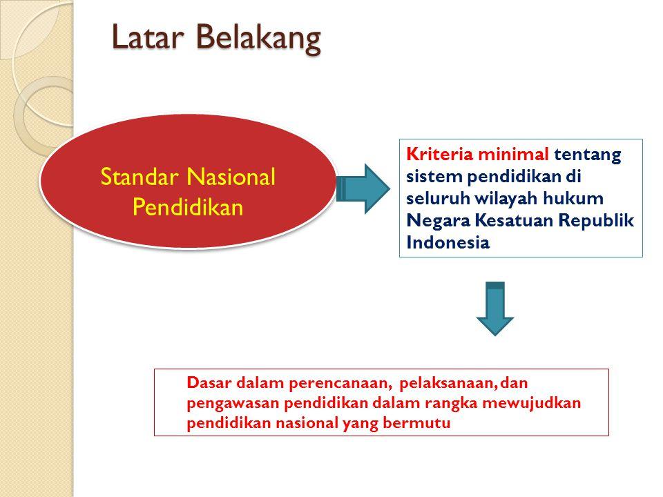 Latar Belakang Kriteria minimal tentang sistem pendidikan di seluruh wilayah hukum Negara Kesatuan Republik Indonesia Standar Nasional Pendidikan Dasar dalam perencanaan, pelaksanaan, dan pengawasan pendidikan dalam rangka mewujudkan pendidikan nasional yang bermutu