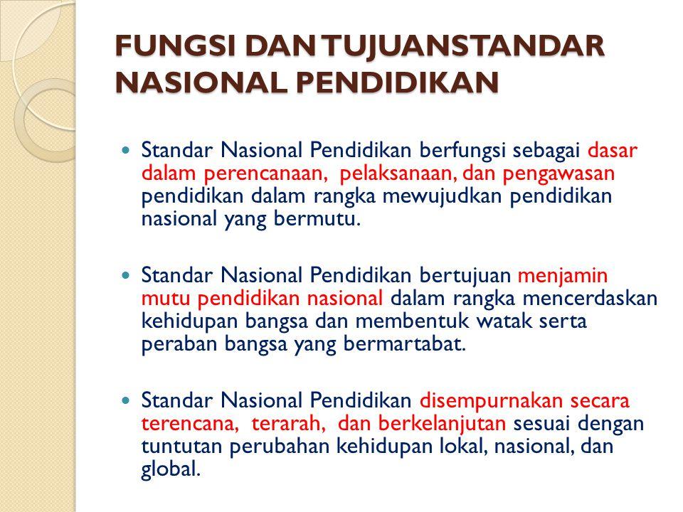 FUNGSI DAN TUJUANSTANDAR NASIONAL PENDIDIKAN Standar Nasional Pendidikan berfungsi sebagai dasar dalam perencanaan, pelaksanaan, dan pengawasan pendidikan dalam rangka mewujudkan pendidikan nasional yang bermutu.