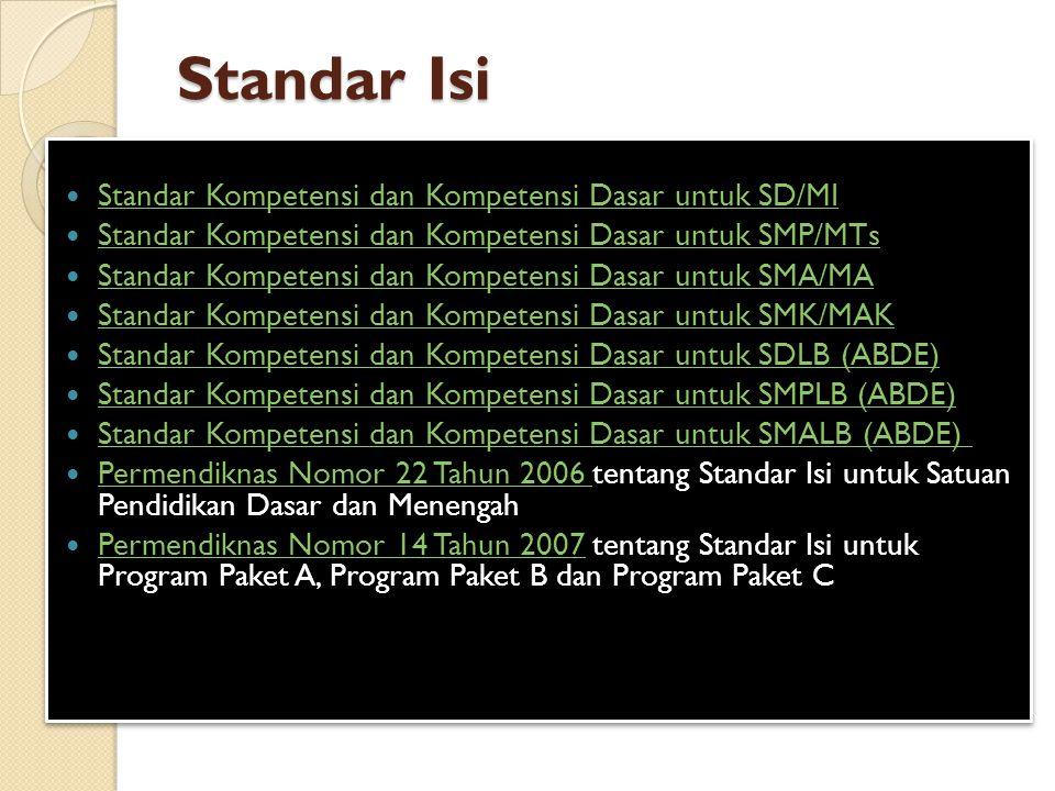 Standar Isi Standar Kompetensi dan Kompetensi Dasar untuk SD/MI Standar Kompetensi dan Kompetensi Dasar untuk SMP/MTs Standar Kompetensi dan Kompetensi Dasar untuk SMA/MA Standar Kompetensi dan Kompetensi Dasar untuk SMK/MAK Standar Kompetensi dan Kompetensi Dasar untuk SDLB (ABDE) Standar Kompetensi dan Kompetensi Dasar untuk SMPLB (ABDE) Standar Kompetensi dan Kompetensi Dasar untuk SMALB (ABDE) Permendiknas Nomor 22 Tahun 2006 tentang Standar Isi untuk Satuan Pendidikan Dasar dan Menengah Permendiknas Nomor 22 Tahun 2006 Permendiknas Nomor 14 Tahun 2007 tentang Standar Isi untuk Program Paket A, Program Paket B dan Program Paket C Permendiknas Nomor 14 Tahun 2007 Standar Kompetensi dan Kompetensi Dasar untuk SD/MI Standar Kompetensi dan Kompetensi Dasar untuk SMP/MTs Standar Kompetensi dan Kompetensi Dasar untuk SMA/MA Standar Kompetensi dan Kompetensi Dasar untuk SMK/MAK Standar Kompetensi dan Kompetensi Dasar untuk SDLB (ABDE) Standar Kompetensi dan Kompetensi Dasar untuk SMPLB (ABDE) Standar Kompetensi dan Kompetensi Dasar untuk SMALB (ABDE) Permendiknas Nomor 22 Tahun 2006 tentang Standar Isi untuk Satuan Pendidikan Dasar dan Menengah Permendiknas Nomor 22 Tahun 2006 Permendiknas Nomor 14 Tahun 2007 tentang Standar Isi untuk Program Paket A, Program Paket B dan Program Paket C Permendiknas Nomor 14 Tahun 2007