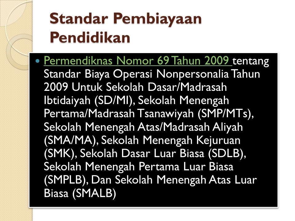 Standar Pembiayaan Pendidikan Permendiknas Nomor 69 Tahun 2009 tentang Standar Biaya Operasi Nonpersonalia Tahun 2009 Untuk Sekolah Dasar/Madrasah Ibtidaiyah (SD/MI), Sekolah Menengah Pertama/Madrasah Tsanawiyah (SMP/MTs), Sekolah Menengah Atas/Madrasah Aliyah (SMA/MA), Sekolah Menengah Kejuruan (SMK), Sekolah Dasar Luar Biasa (SDLB), Sekolah Menengah Pertama Luar Biasa (SMPLB), Dan Sekolah Menengah Atas Luar Biasa (SMALB) Permendiknas Nomor 69 Tahun 2009 Permendiknas Nomor 69 Tahun 2009 tentang Standar Biaya Operasi Nonpersonalia Tahun 2009 Untuk Sekolah Dasar/Madrasah Ibtidaiyah (SD/MI), Sekolah Menengah Pertama/Madrasah Tsanawiyah (SMP/MTs), Sekolah Menengah Atas/Madrasah Aliyah (SMA/MA), Sekolah Menengah Kejuruan (SMK), Sekolah Dasar Luar Biasa (SDLB), Sekolah Menengah Pertama Luar Biasa (SMPLB), Dan Sekolah Menengah Atas Luar Biasa (SMALB) Permendiknas Nomor 69 Tahun 2009