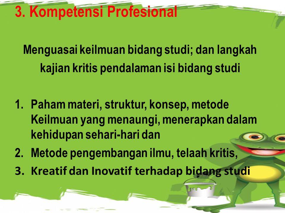 2. Kompetensi Kepribadian Mantap & Stabil, Dewasa, Arief, Berwibawa, Akhlak Mulia 1.Norma hukum & sosial, rasa bangga, Konsisten dengan norma; 2.Mandi