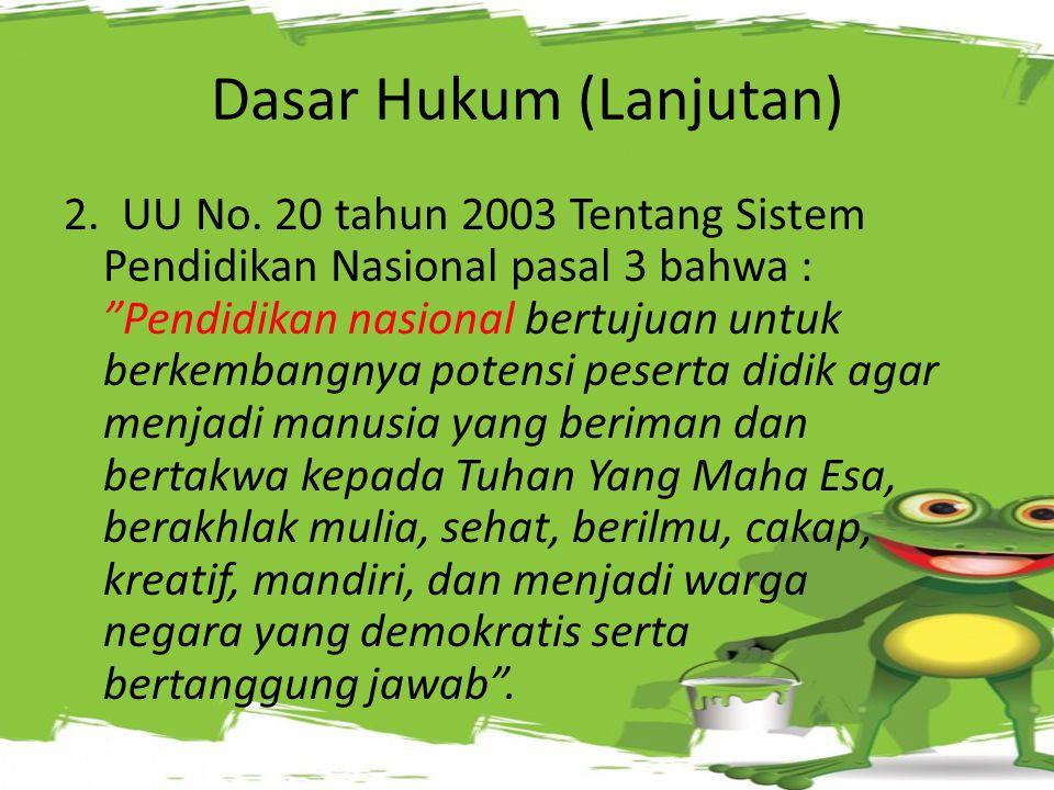 Service DASAR HUKUM 1. UUD 1945 Bab XIII Pasal 31 a.l. butir (3) yaitu bahwa Pemerintah mengusahakan dan menyelenggarakan satu sistem pendidikan nasio