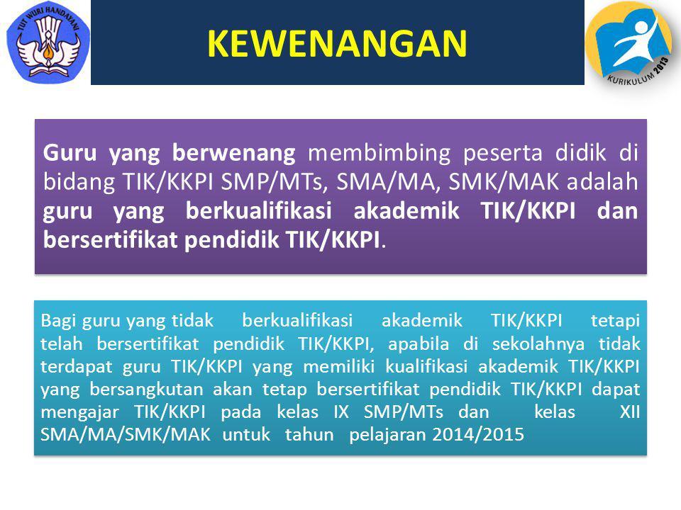KEWENANGAN Guru yang berwenang membimbing peserta didik di bidang TIK/KKPI SMP/MTs, SMA/MA, SMK/MAK adalah guru yang berkualifikasi akademik TIK/KKPI