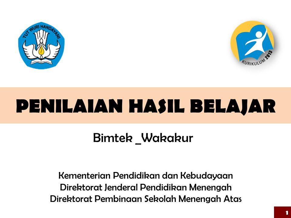 PENILAIAN HASIL BELAJAR 1 Kementerian Pendidikan dan Kebudayaan Direktorat Jenderal Pendidikan Menengah Direktorat Pembinaan Sekolah Menengah Atas Bim