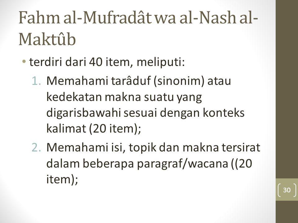 Fahm al-Mufradât wa al-Nash al- Maktûb terdiri dari 40 item, meliputi: 1.Memahami tarâduf (sinonim) atau kedekatan makna suatu yang digarisbawahi sesu