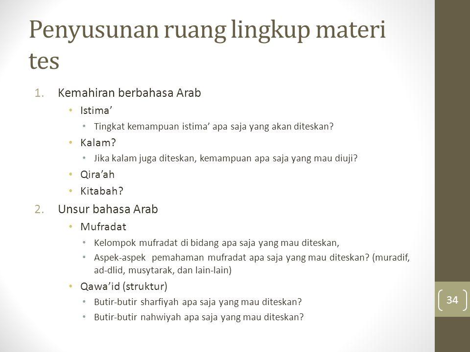 Penyusunan ruang lingkup materi tes 1.Kemahiran berbahasa Arab Istima' Tingkat kemampuan istima' apa saja yang akan diteskan? Kalam? Jika kalam juga d