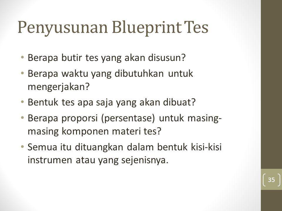 Penyusunan Blueprint Tes Berapa butir tes yang akan disusun? Berapa waktu yang dibutuhkan untuk mengerjakan? Bentuk tes apa saja yang akan dibuat? Ber