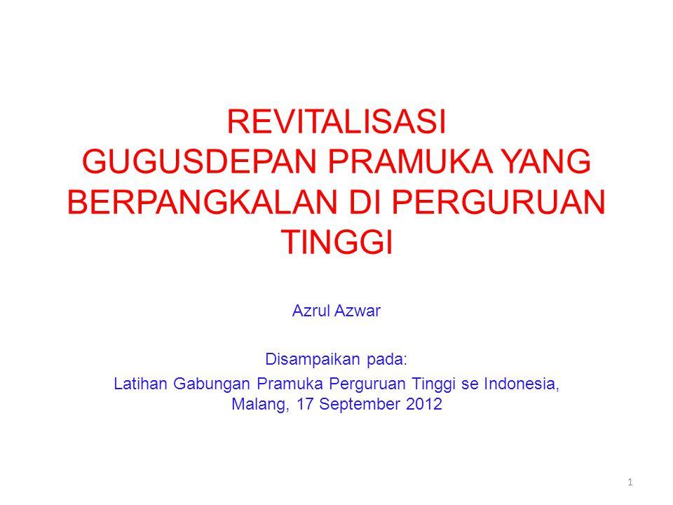 REVITALISASI GUGUSDEPAN PRAMUKA YANG BERPANGKALAN DI PERGURUAN TINGGI Azrul Azwar Disampaikan pada: Latihan Gabungan Pramuka Perguruan Tinggi se Indonesia, Malang, 17 September 2012 1
