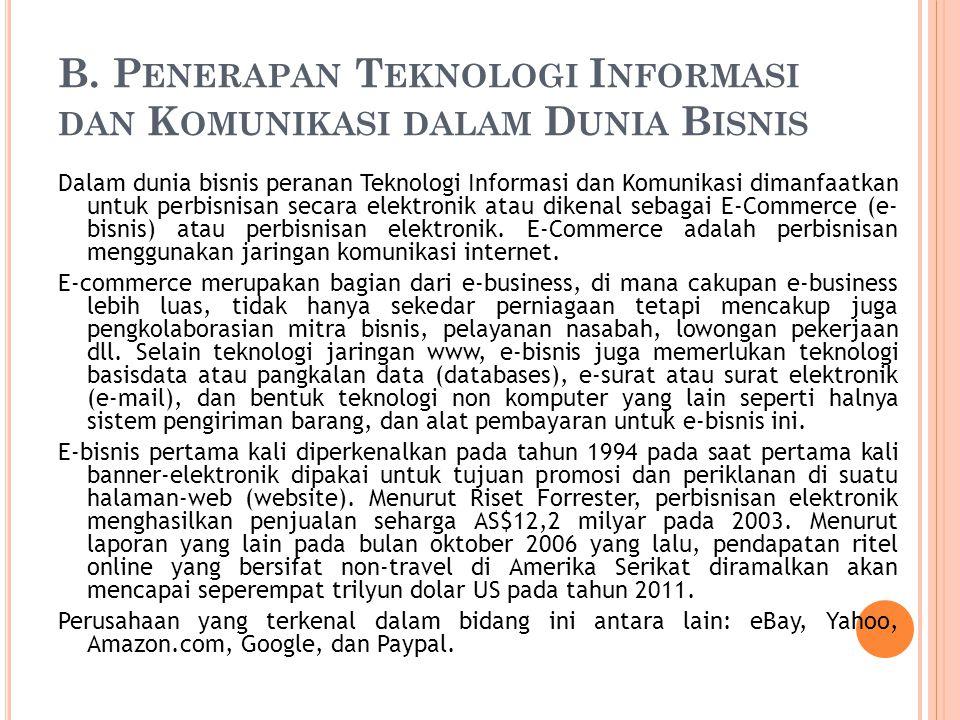 B. P ENERAPAN T EKNOLOGI I NFORMASI DAN K OMUNIKASI DALAM D UNIA B ISNIS Dalam dunia bisnis peranan Teknologi Informasi dan Komunikasi dimanfaatkan un
