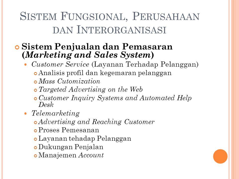 Sistem Penjualan dan Pemasaran ( Marketing and Sales System ) Customer Service (Layanan Terhadap Pelanggan) Analisis profil dan kegemaran pelanggan Ma