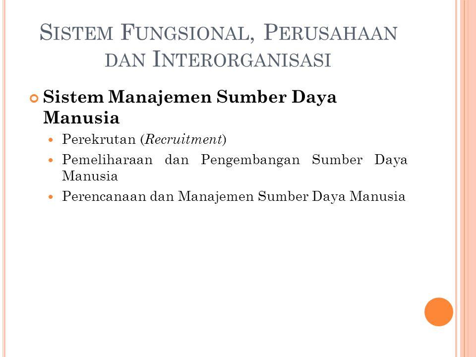 Sistem Manajemen Sumber Daya Manusia Perekrutan ( Recruitment ) Pemeliharaan dan Pengembangan Sumber Daya Manusia Perencanaan dan Manajemen Sumber Daya Manusia S ISTEM F UNGSIONAL, P ERUSAHAAN DAN I NTERORGANISASI