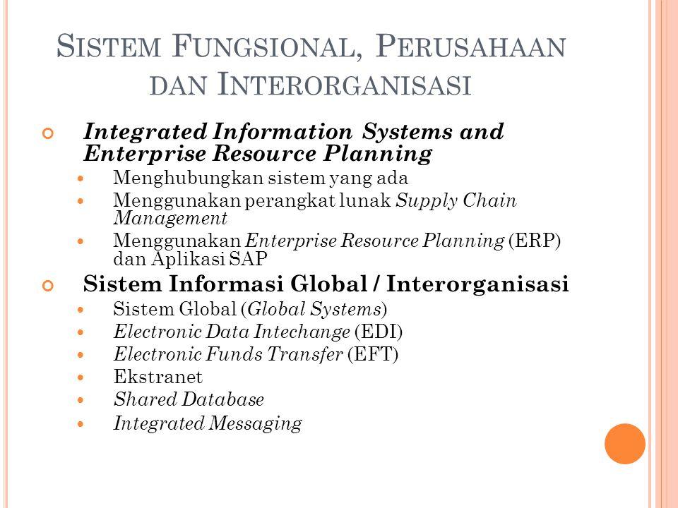 Integrated Information Systems and Enterprise Resource Planning Menghubungkan sistem yang ada Menggunakan perangkat lunak Supply Chain Management Meng
