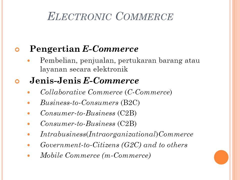 E LECTRONIC C OMMERCE Pengertian E-Commerce Pembelian, penjualan, pertukaran barang atau layanan secara elektronik Jenis-Jenis E-Commerce Collaborative Commerce ( C-Commerce ) Business-to-Consumers (B2C) Consumer-to-Business (C2B) Intrabusiness ( Intraorganizational ) Commerce Government-to-Citizens (G2C) and to others Mobile Commerce (m-Commerce)