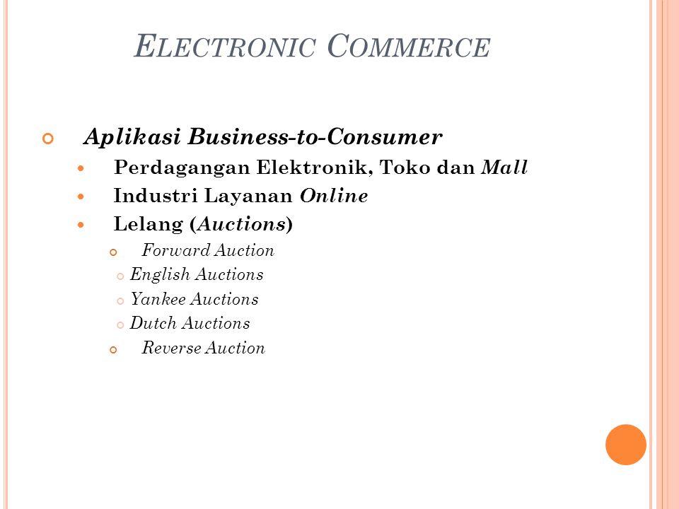 Aplikasi Business-to-Consumer Perdagangan Elektronik, Toko dan Mall Industri Layanan Online Lelang ( Auctions ) Forward Auction English Auctions Yanke