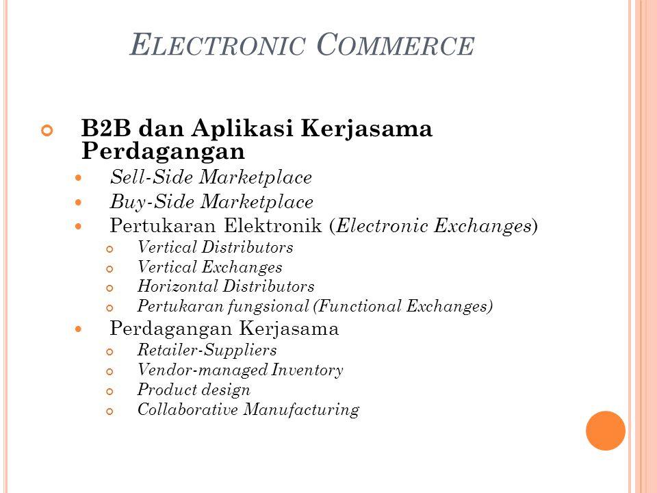 B2B dan Aplikasi Kerjasama Perdagangan Sell-Side Marketplace Buy-Side Marketplace Pertukaran Elektronik ( Electronic Exchanges ) Vertical Distributors