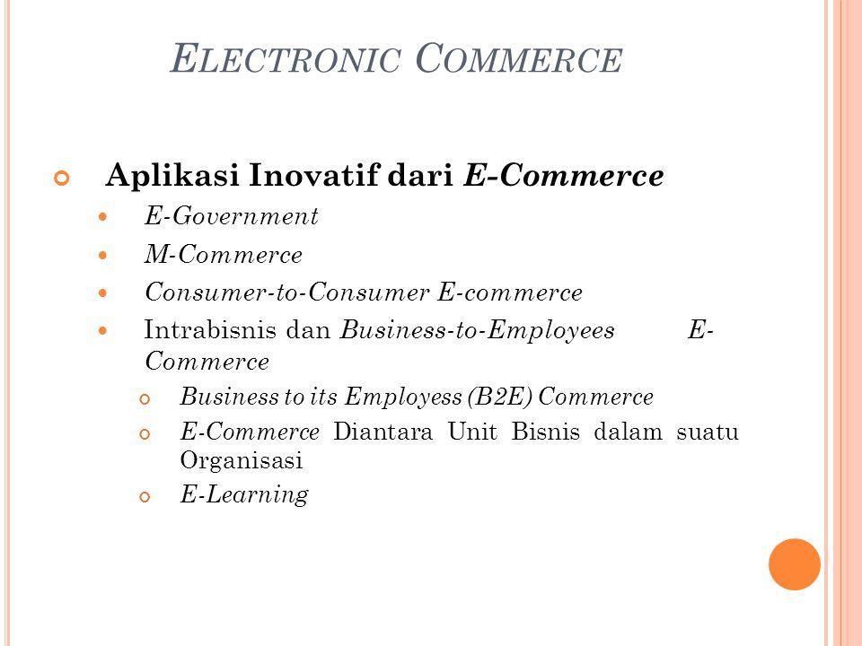 Aplikasi Inovatif dari E-Commerce E-Government M-Commerce Consumer-to-Consumer E-commerce Intrabisnis dan Business-to-Employees E- Commerce Business to its Employess (B2E) Commerce E-Commerce Diantara Unit Bisnis dalam suatu Organisasi E-Learning E LECTRONIC C OMMERCE