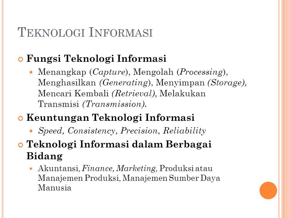 Fungsi Teknologi Informasi Menangkap ( Capture ), Mengolah ( Processing ), Menghasilkan (Generating ), Menyimpan (Storage), Mencari Kembali (Retrieval), Melakukan Transmisi (Transmission).