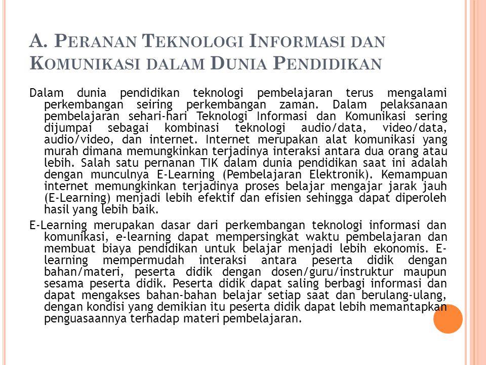 A. P ERANAN T EKNOLOGI I NFORMASI DAN K OMUNIKASI DALAM D UNIA P ENDIDIKAN Dalam dunia pendidikan teknologi pembelajaran terus mengalami perkembangan