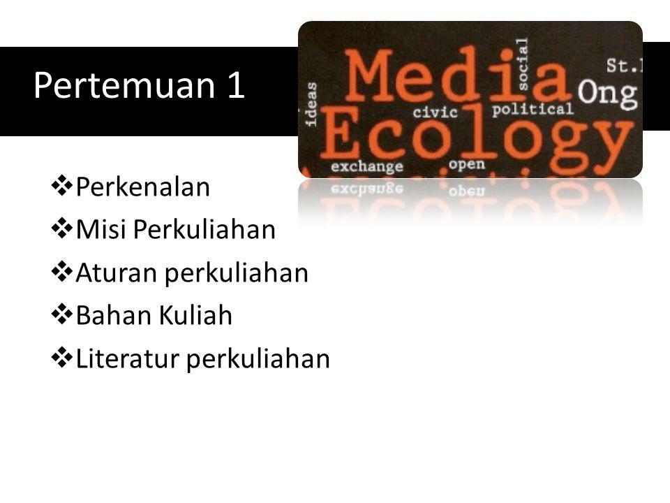Pertemuan 2 Ekologi Media: Teori, Makna dan Wacana Apa saja ruang lingkup ekologi media.