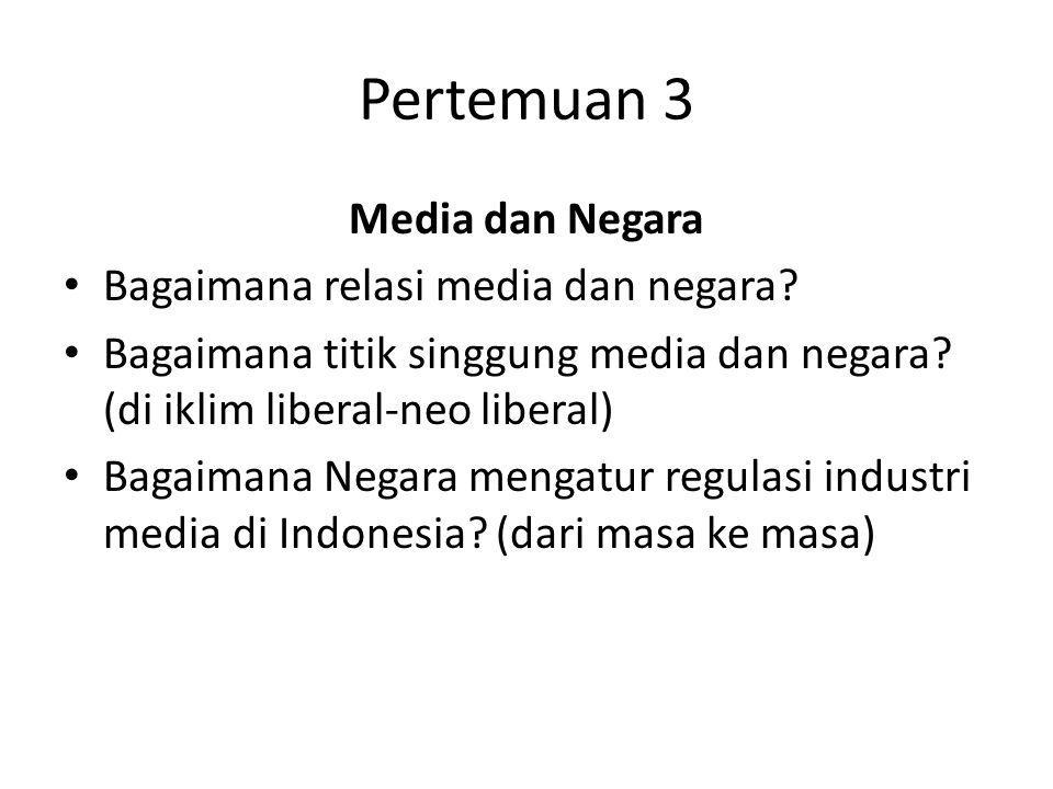 Pertemuan 3 Media dan Negara Bagaimana relasi media dan negara? Bagaimana titik singgung media dan negara? (di iklim liberal-neo liberal) Bagaimana Ne