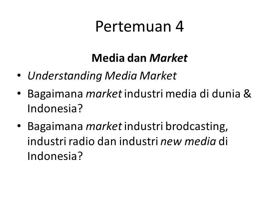 Pertemuan 4 Media dan Market Understanding Media Market Bagaimana market industri media di dunia & Indonesia? Bagaimana market industri brodcasting, i