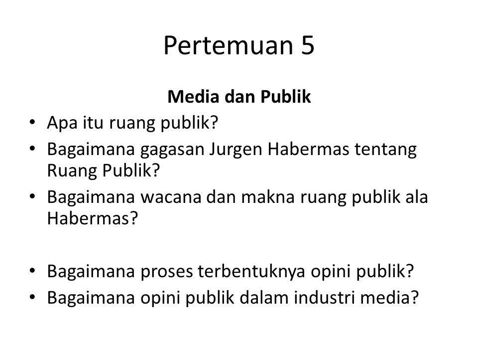 Pertemuan 5 Media dan Publik Apa itu ruang publik? Bagaimana gagasan Jurgen Habermas tentang Ruang Publik? Bagaimana wacana dan makna ruang publik ala
