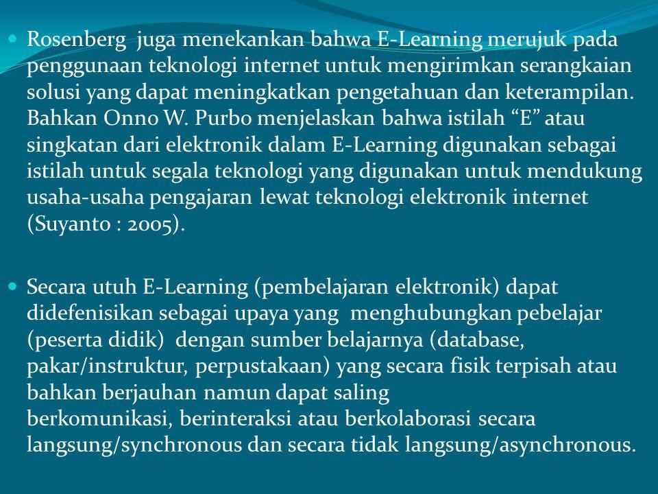 Banyak pakar pendidikan memberikan defenisi mengenai E- Learning, seperti yang dipaparkan oleh Siahaan (2004) dalam Penerapan E-Learning Dalam Pembelajaran menyatakan bahwa E-Learning merupakan suatu pengalaman belajar yang disampaikan melalui teknologi elektronika.