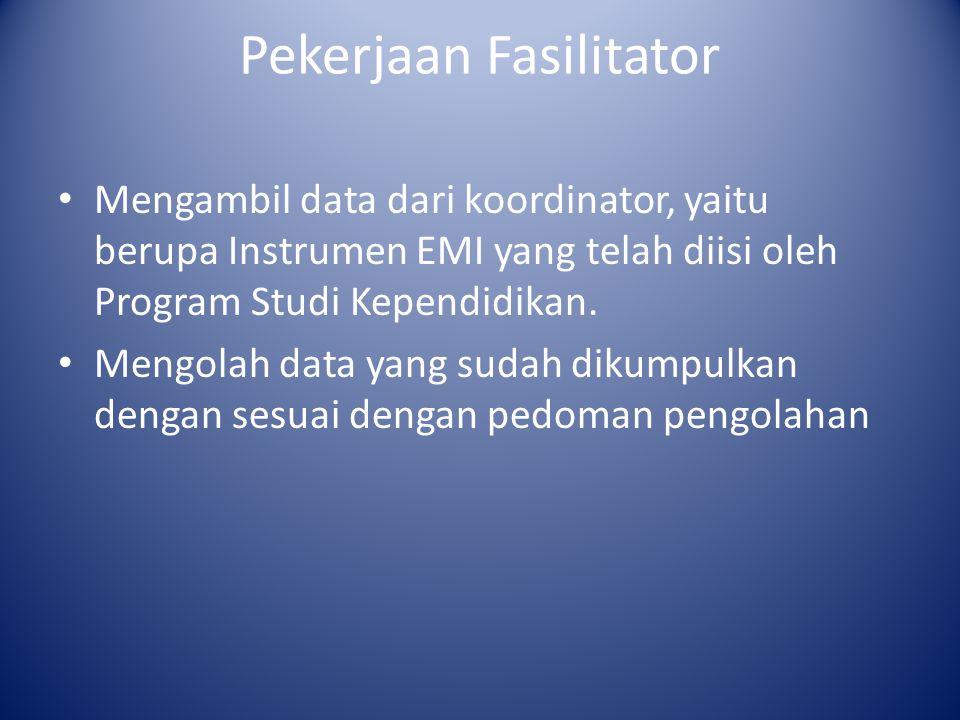 Pekerjaan Fasilitator Mengambil data dari koordinator, yaitu berupa Instrumen EMI yang telah diisi oleh Program Studi Kependidikan. Mengolah data yang