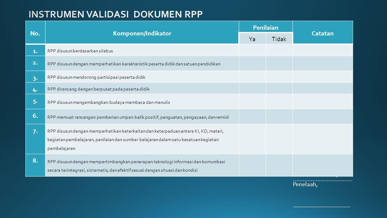 No.Komponen/Indikator Penilaian Catatan YaTidak 1.