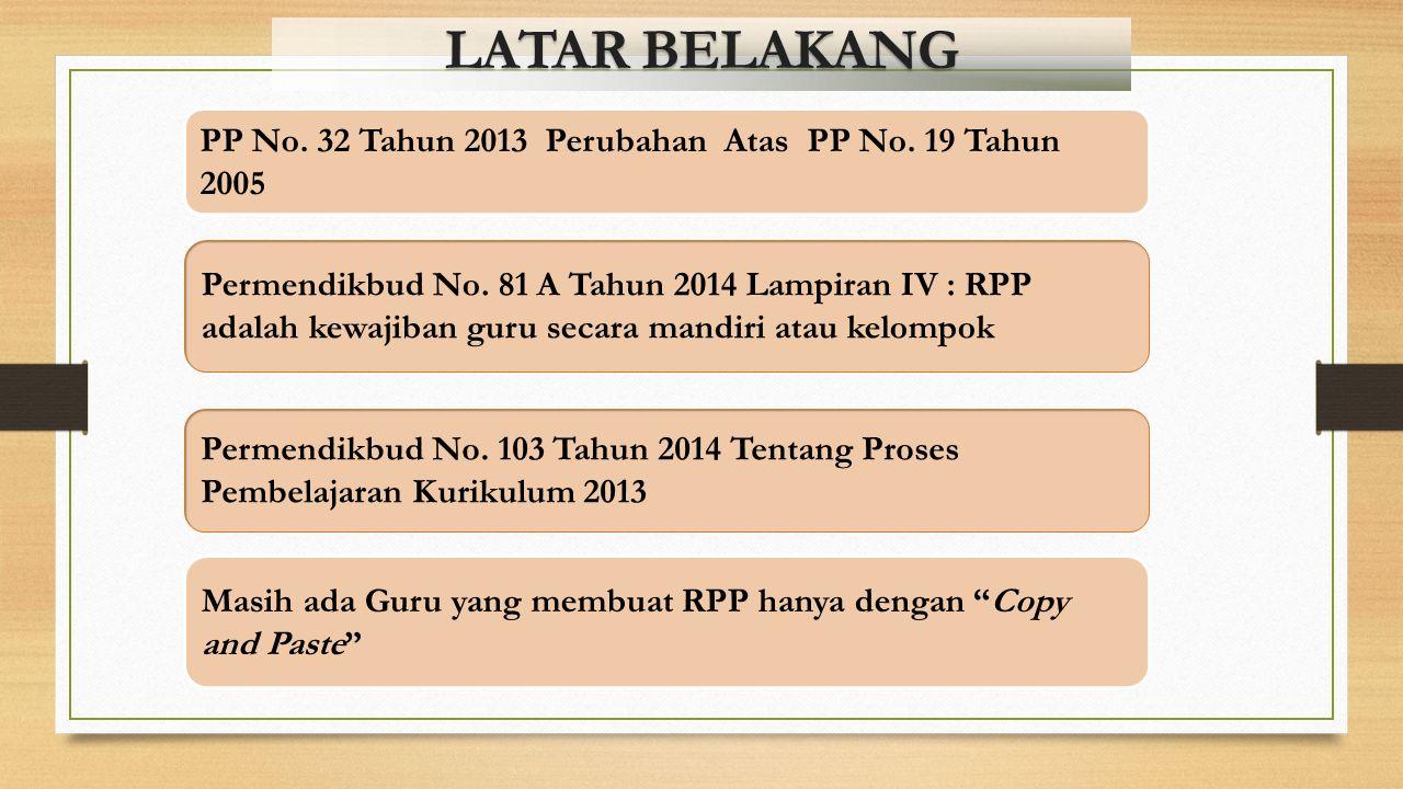 LATAR BELAKANG PP No.32 Tahun 2013 Perubahan Atas PP No.