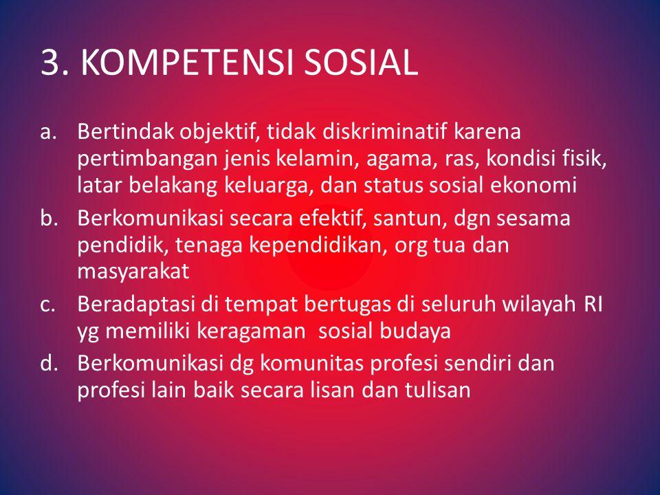 2.KOMPETENSI KEPRIBADIAN a.Bertindak sesuai dengan norma agama, hukum, sosial, dan kebudayaan nasioal Indonesia b.Menampilkan diri sebagai pribadi yang jujur, berakhlak mulia, teladan bagi peserta didik dan masyarakat c.Menampilkan diri sebagai pribadi yang mantap, stabil, dewasa, arif, dan berwibawa d.Menunjukkan etos kerja, tanggung jawab yang tinggi, rasa bangga menjadi guru, dan percaya diri e.Menjunjung tinggi kode etik profesi guru