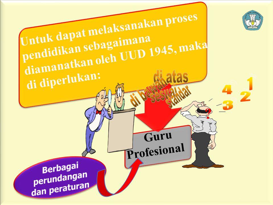 4 Guru Profesional Untuk dapat melaksanakan proses pendidikan sebagaimana diamanatkan oleh UUD 1945, maka di diperlukan: ?